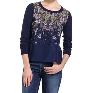 Moth for Anthropologie, Navy sweater, Silk Front,M
